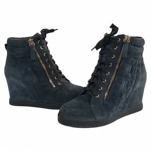 CECELIA New York Blue Suede Wedge Ankle Boot Sz 7